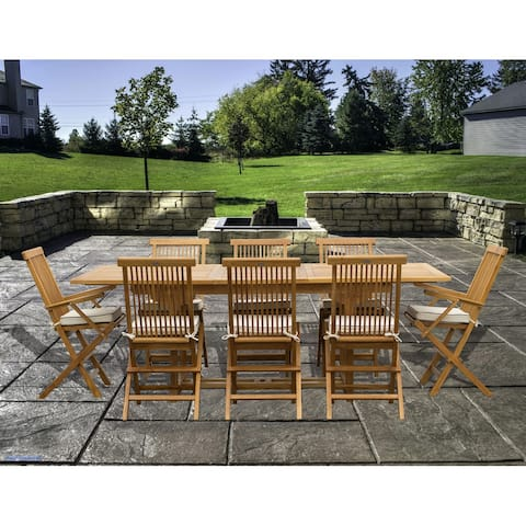 9 Piece Teak Wood Miami Patio Dining Set with Rectangular Extension Table, 8 Folding Arm and Side Chairs