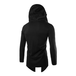Men Long Sleeves Front Opening Casual Hooded Cardigan