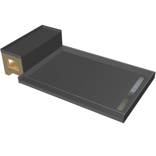 """Tile Redi RT4860R-S-RB48-KIT Base'N Bench 72"""" X 48"""" Three Wall Alcove Shower Pan with Single Curb, Bench, and 2"""" Right-Side"""