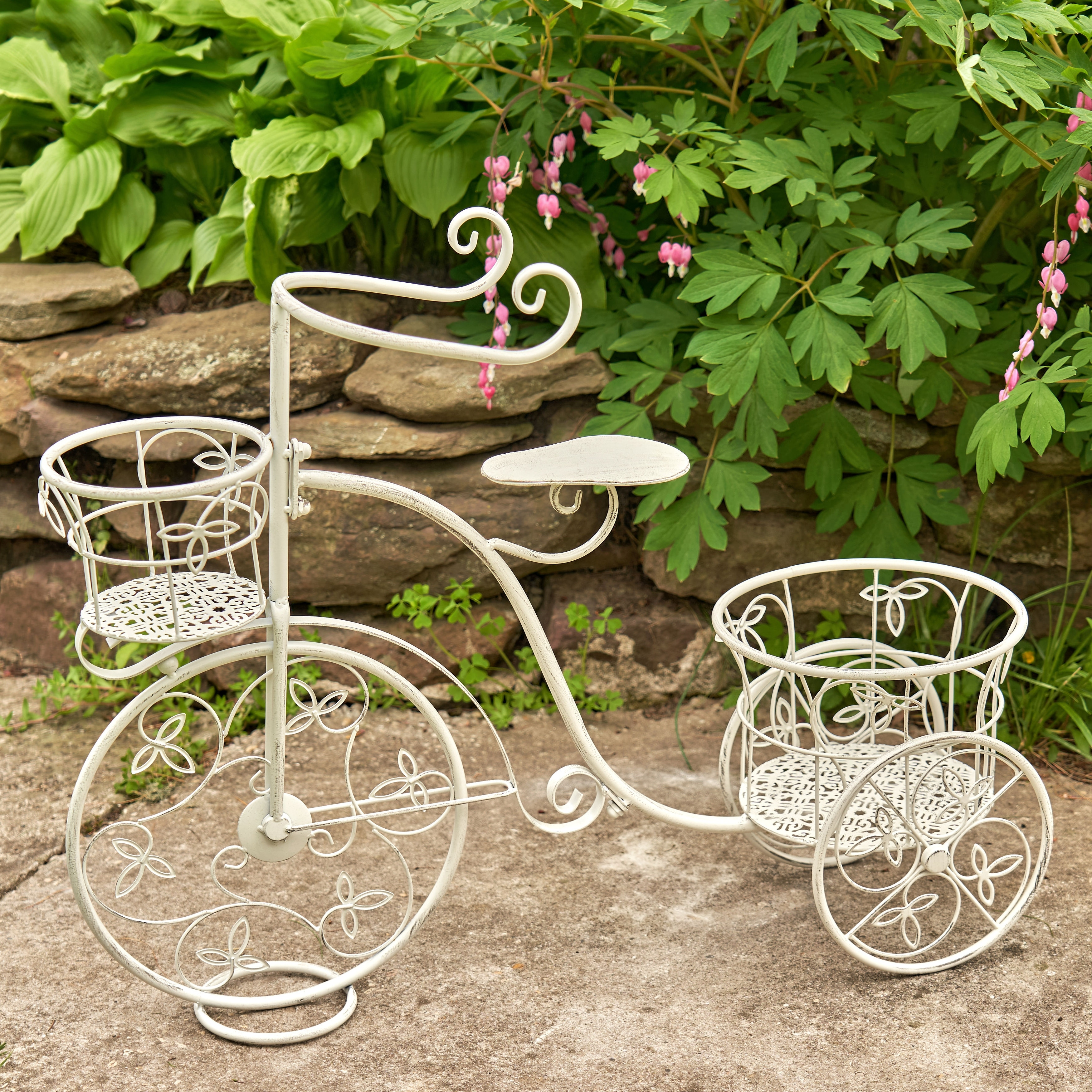 Vintage Style Tricycle Planter With Two Flower Baskets Overstock 31619052