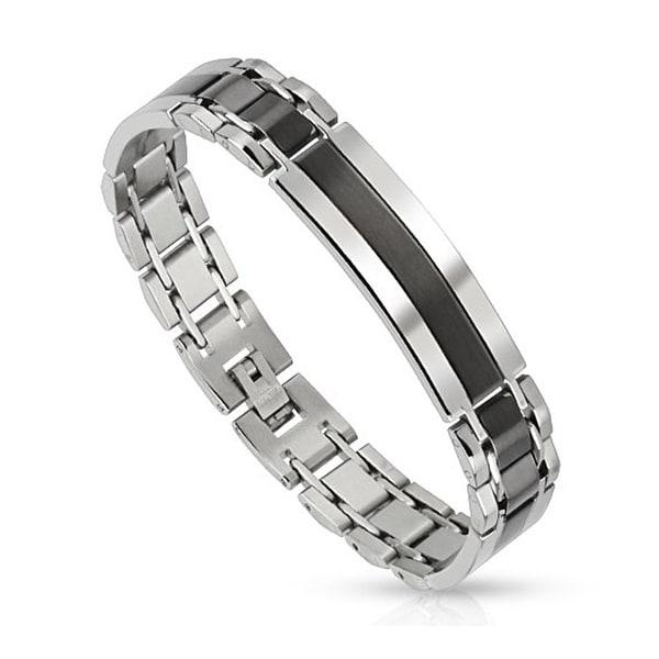 Center in Black IP Stainless Steel Bracelet (12 mm) - 8.25 in