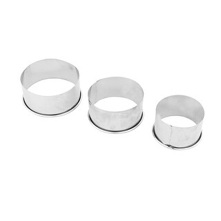 Kitchen Metal Round Shaped Pastry Cookie Baking Mold DIY Tool Silver Tone 3 in 1