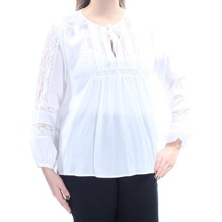 JOIE $298 Womens New 1405 Ivory Lace Tie Jewel Neck Long Sleeve Top L B+B