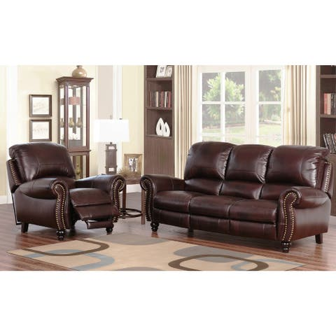 Abbyson Madison Top-grain Leather Pushback Reclining 2-piece Living Room Set