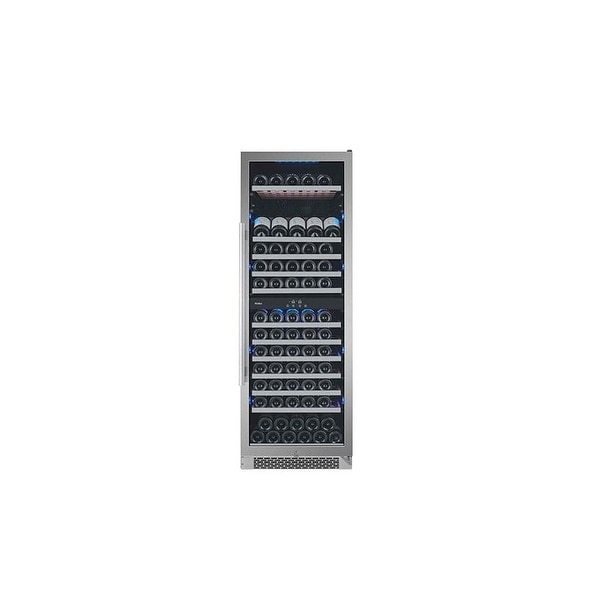 Avallon AWC241TDZLH 24 Inch Wide Energy Efficient 13 Shelf, 141 Bottle Capacity Dual Zone Wine Cooler with LED Lighting, Double