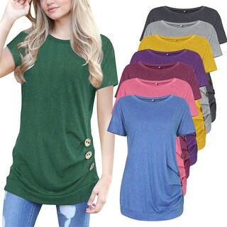 Short Sleeve Round Neck Loose Tunic Top Blouse T-Shirt
