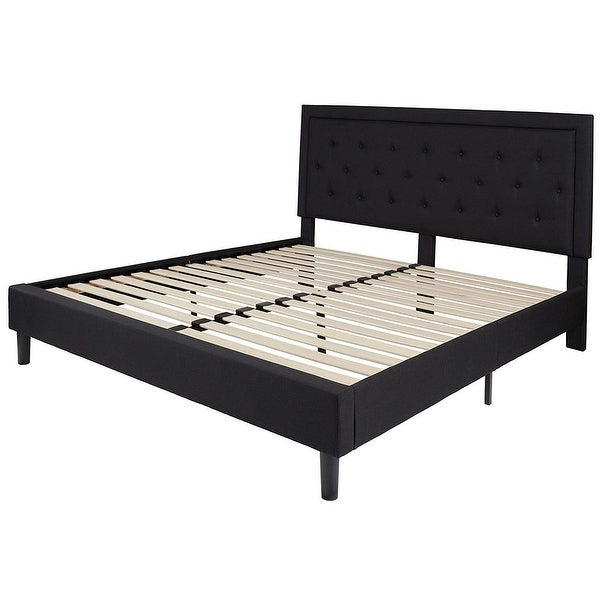 King Black Fabric Upholstered Platform Bed Frame with Button Tufted Headboard