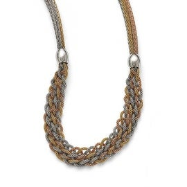Chisel Stainless Steel Yellowith Rose IP-plated Braided Mesh Necklace - 21 in
