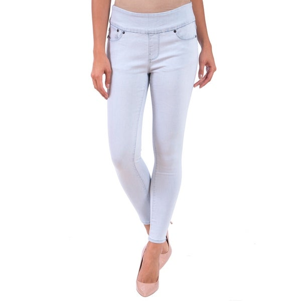28 LOLA jeans pull on high rise light blue straight leg 4 way stretch size 4