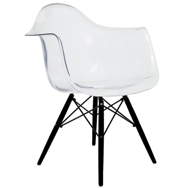 2xhome Modern Eames Armchair With Arm Dining ChairClear with Dark Black Wood Legs