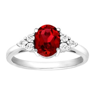 1 7/8 ct Created Ruby & Natural White Topaz Ring in Sterling Silver - Red
