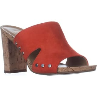 Franco Sarto Jeanette Heeled Mule Sandals, Orange|https://ak1.ostkcdn.com/images/products/is/images/direct/0e57968dc0ef38c775727470ae91b51edfee3b99/Franco-Sarto-Jeanette-Heeled-Mule-Sandals%2C-Orange.jpg?impolicy=medium