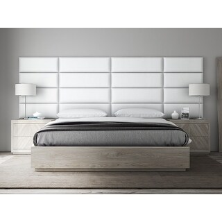 VANT Upholstered Headboards - Accent Wall Panels - Vintage Leather White Dove - 39 Inch Twin-King - Set of 4 panels.