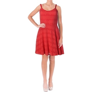 Aqua Womens Juniors Crochet Fit & Flare Casual Dress
