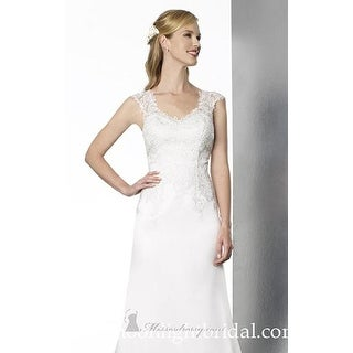 Sleeveless Embroidered Satin A-Line