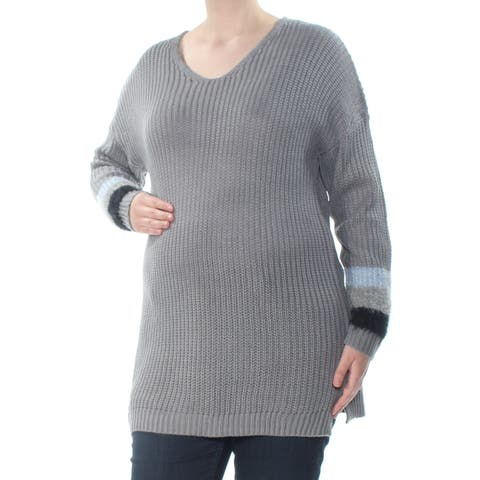 PLANET GOLD Womens Gray Knit Striped Long Sleeve V Neck Sweater Plus Size: 1X