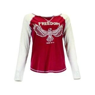 Cowgirl Tuff Western Shirt Womens Long Sleeve Patriotic Tee Red