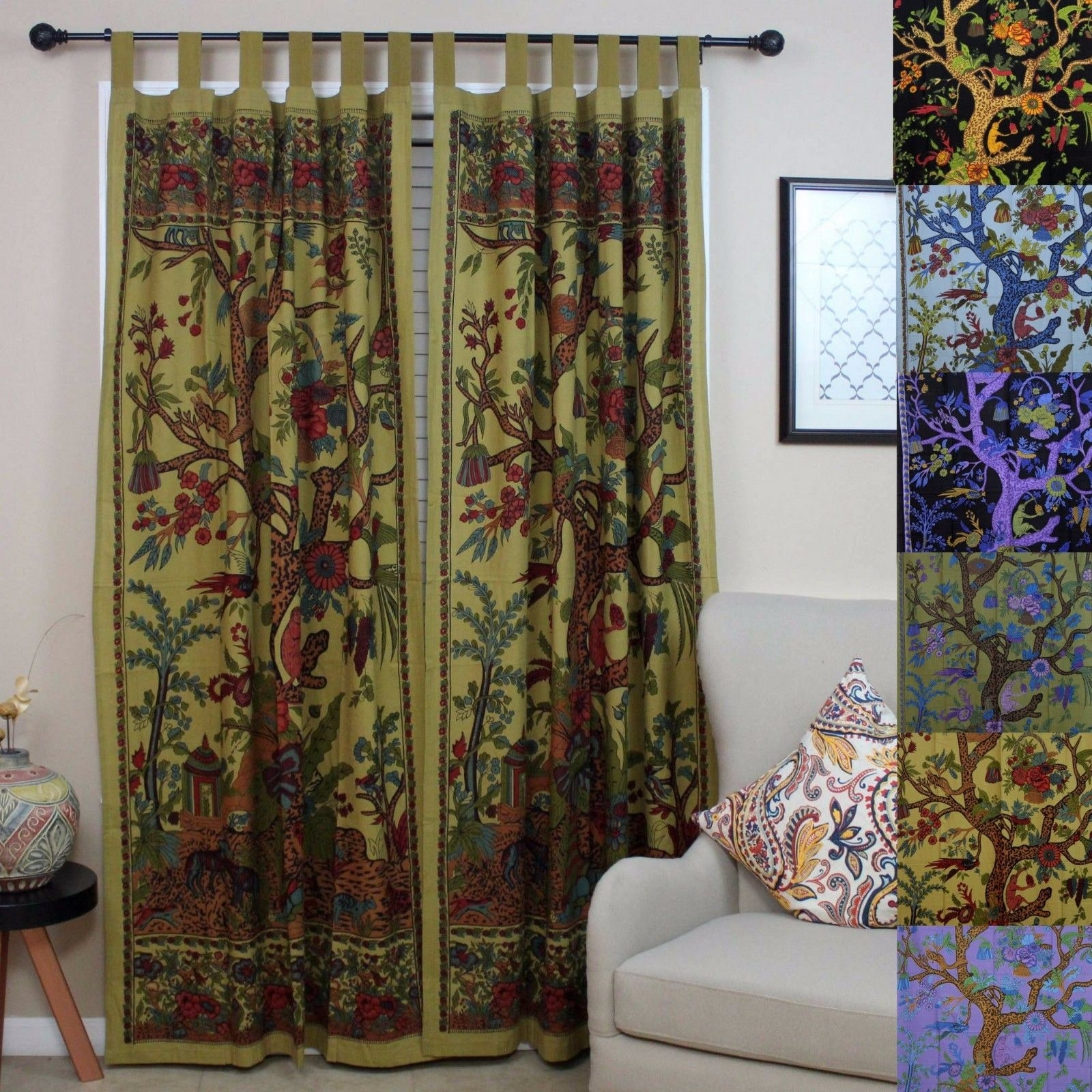 Handmade 100% Cotton Tree of Life Tab Top Curtain Drape Panel - 8 Color options - Black Gold Blue Purple Tan - 44 x 88 inches - Thumbnail 0