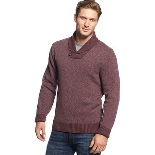 Club Room Marled Shawl Collar Sweater Cherry Wine Cotton X-Large