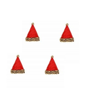 Christmas House Set of 4 Pack Santa Hats with Animal Print Cuffs and Pom-Poms, 16.5 Inch