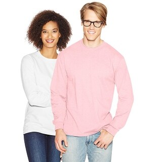 Hanes Adult Beefy-T Long-Sleeve T-Shirt - Size - 2XL - Color - Pale Pink