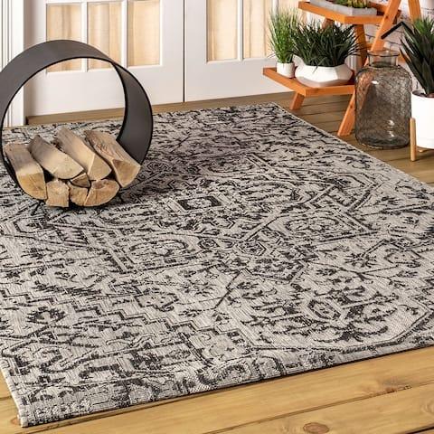 JONATHAN Y Estrella Bohemian Medallion Textured Weave Indoor/Outdoor Area Rug