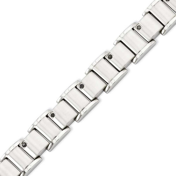 Stainless Steel Black Diamonds Polished 8.5in Bracelet