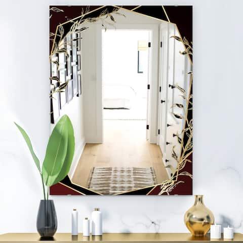 Designart 'Black and Gold Marble Floral Geometric VI' Glam Mirror - Frameless Vanity Mirror