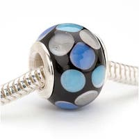 Glass Lampwork European Style Large Hole Bead - Black With Blue Dots 14mm (1)