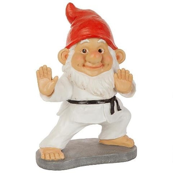 """11.5"""" Karate Gnome Hand Painted Outdoor Garden Statue - N/A"""