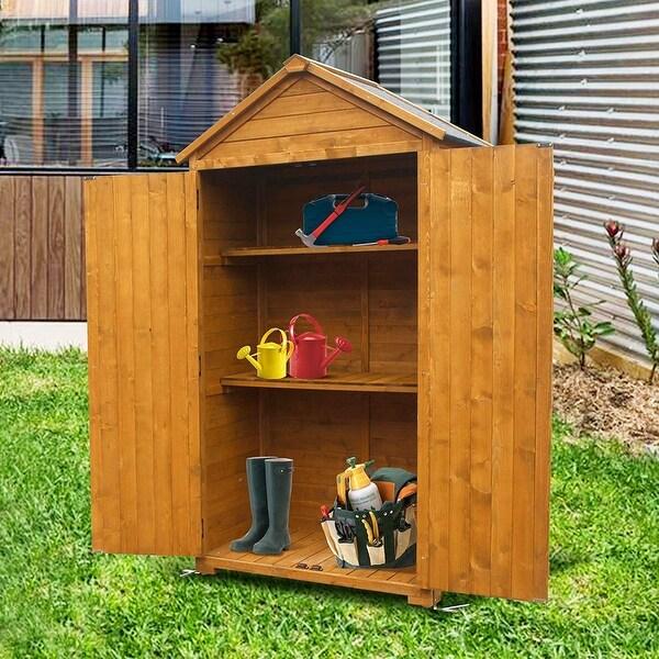 vidaXL Patio Outdoor Garden Wooden Storage Cabinet Tool Shed Organizer In Brown