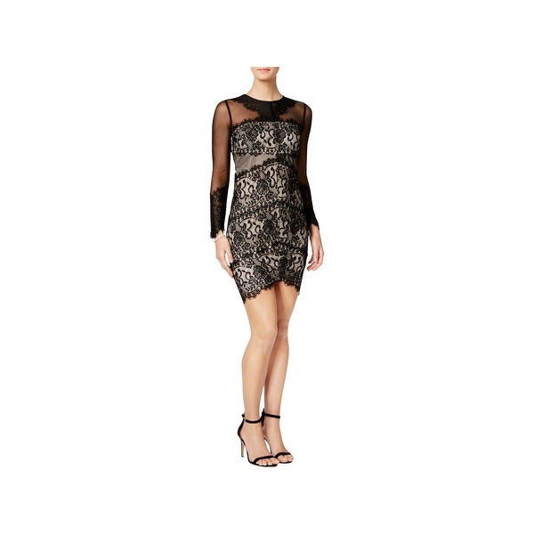 a57be1ca449 Shop Jax Black Label Womens Illusion Cocktail Dress Mesh Lace - Free  Shipping On Orders Over  45 - Overstock - 22513541