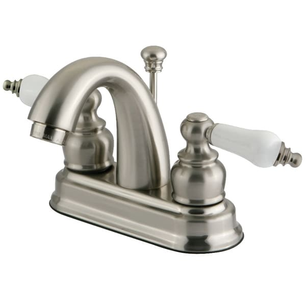 Kingston Brass FB561.PL Restoration 1.2 GPM Centerset Bathroom Faucet with Pop-Up Drain Assembly and Porcelain Handles