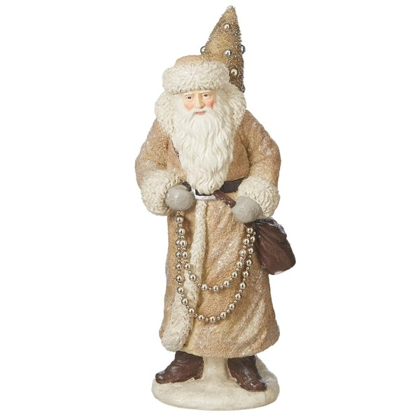 """23"""" Cream and Gold Glitter Vintage Santa with Tree Christmas Table Top Decoration"""