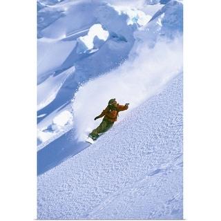 """Snowboarder on mountain snowboarding"" Poster Print"