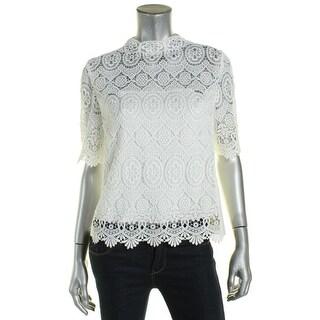 Elie Tahari Womens Blouse Short Sleeve Lace