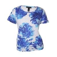 INC International Concept Women's Placed Floral Tee - goddess blue