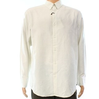 Tasso Elba NEW White Ivory Mens Size XL Hawaiian Button Down Print Shirt