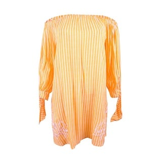 Jessica Simpson Women's Cotton Candy Off-The-Shoulder Cover-Up - Tangerine