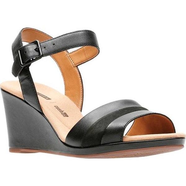 54d36c98ced62a Shop Clarks Women s Lafley Aletha Wedge Sandal Black Leather - Free ...