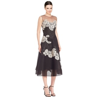 Teri Jon Embellished Floral Mesh Illusion Cocktail Evening Dress