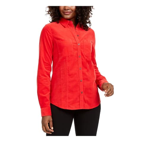 CHARTER CLUB Red Cuffed Button Up Top PM