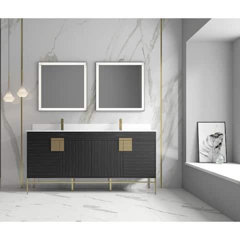 """Alma Bulanka 72"""" Double Sink Vanity Dawn grey , Golden Brass Hardware"""