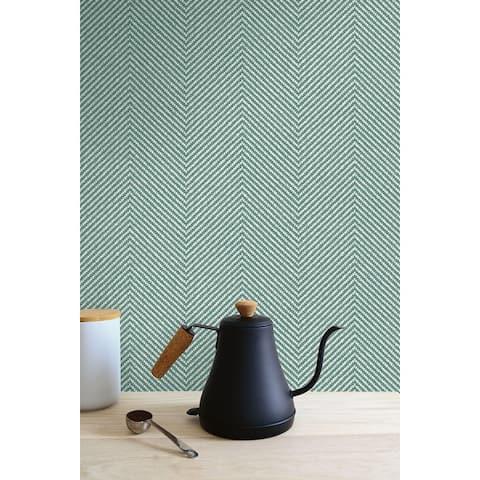 Seabrook Designs Café Chevron Embossed Vinyl Unpasted Wallpaper