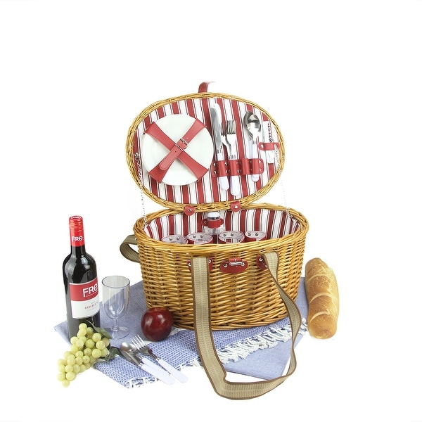 4-Person Hand Woven Honey Willow Striped Picnic Basket Set with Accessories