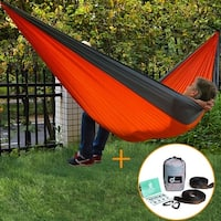ODOLAND Camping Hammock Double Portable Hanging Hammock Swing w/ Quick-Lock Straps Carabiners