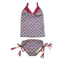 Little Girls Navy Motif Pattern California Ruffle 2 Piece Tankini Swimsuit