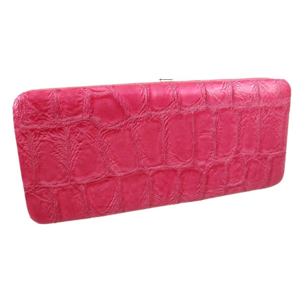 Mock Croc Wristlet Checkbook Wallet Clutch