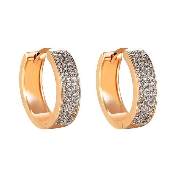 Ladies Hoop Design Earrings Huggies 14k Gold Tone Lab Diamonds Mens