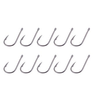 Unique Bargains 10 Pcs 6 Eyeless Barbed Metal Tackle Fishhook For Fishing Lover